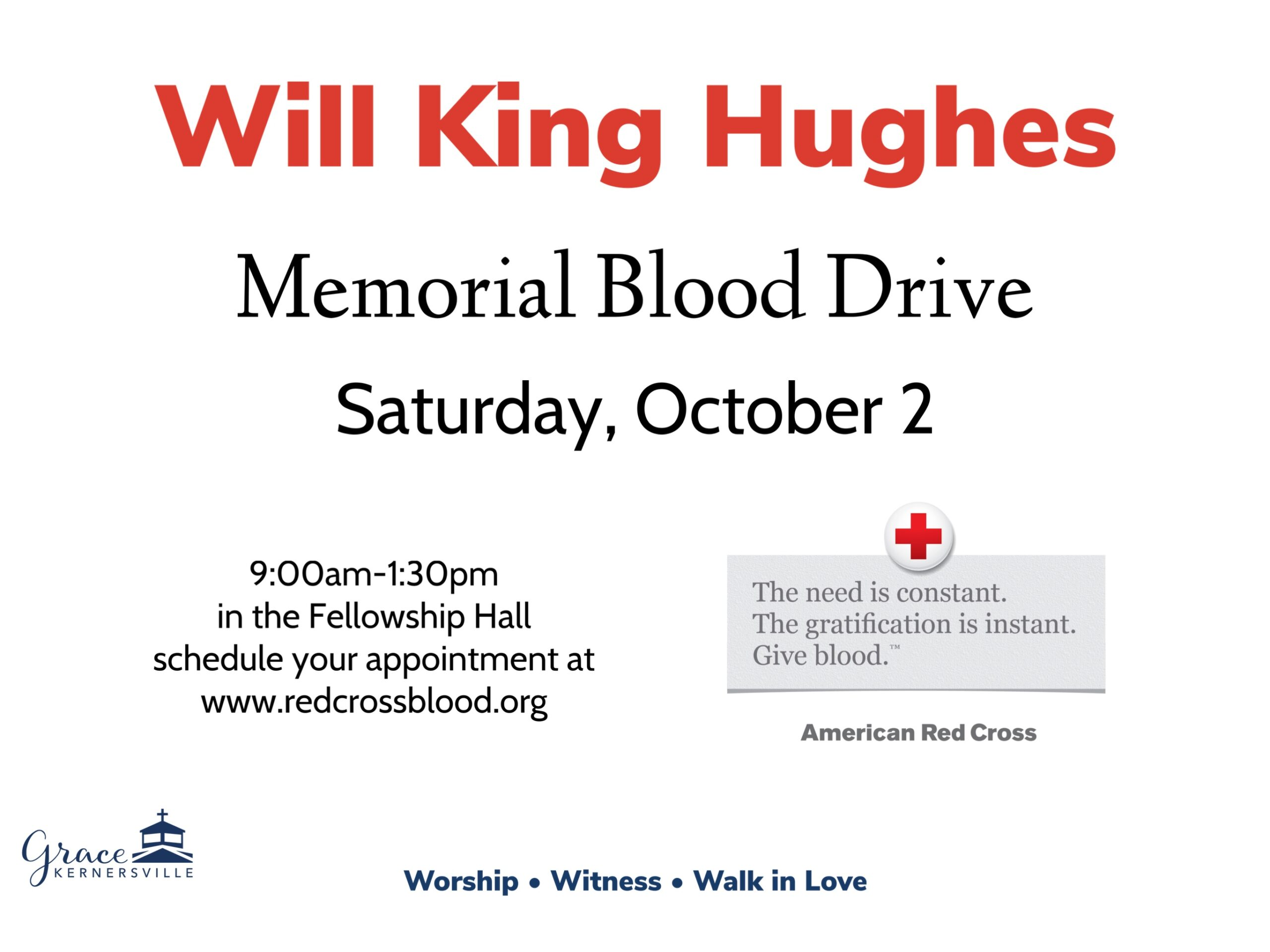 Will King Hughes Memorial Blood Drive